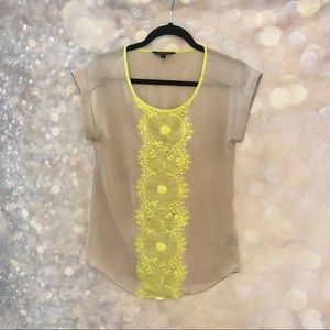 EXPRESS • cap sleeve top with neon lace size XS